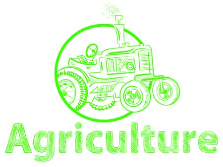 Agriculture and green tractor Illustration