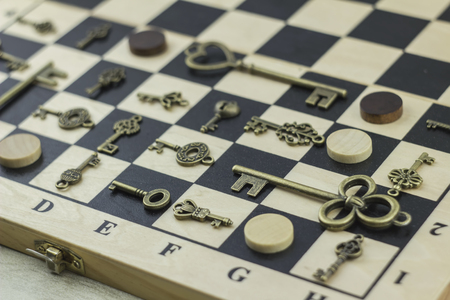 not open: Antiquarian keys and checkers Stock Photo