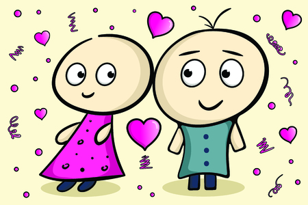 Amusing characters in love boy and girl