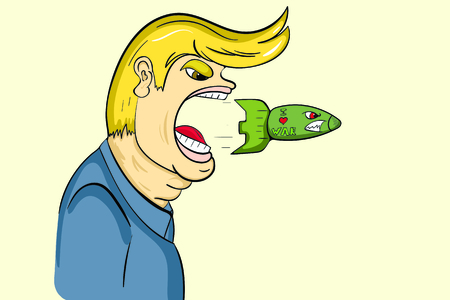 The person shoots combat missiles from a mouth Illustration