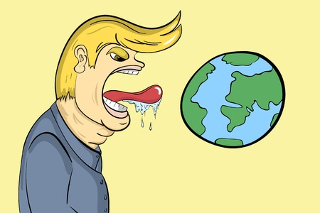 The person is going to eat the planet