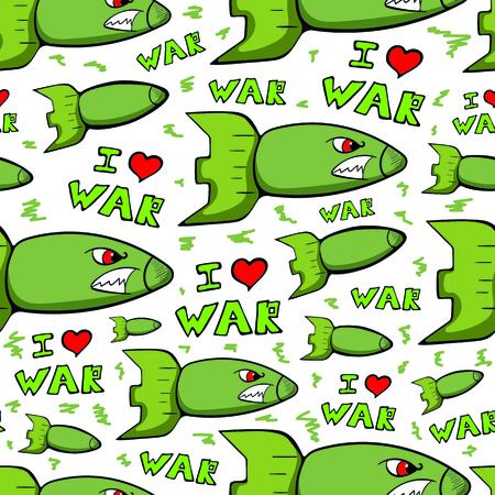 Seamless military warheads white Illustration