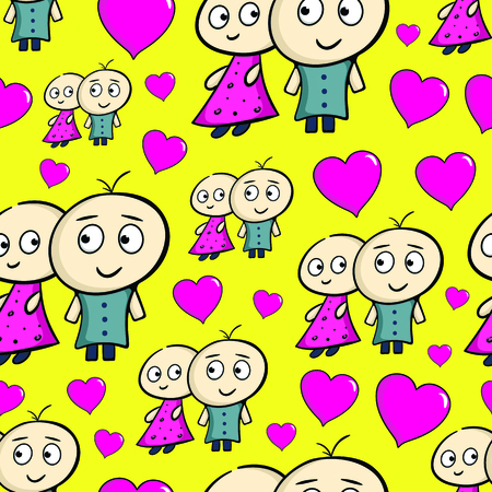 Seamless texture characters and hearts