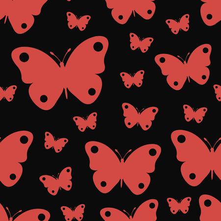 Patrón sin fisuras de mariposas lindas sobre fondo negro.