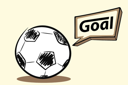 Soccer ball with a goal vector illustration.