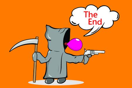 La mort du personnage dans une cape grise et une situation amusante