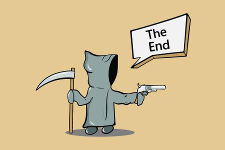 La mort du personnage dans une cape grise et un revolver