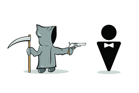 The character death in a gray cloak and the man's silhouette