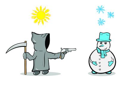 La mort du personnage dans un manteau gris et un bonhomme de neige sous une vue