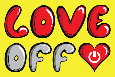 Inscription love of off on a yellow background a negligent font Ilustração