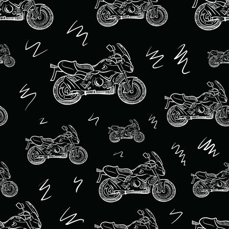 White motorcycles seamles black sketch