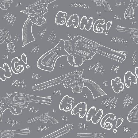 Guns and bangs seamless grey