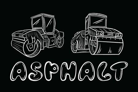 Black white vector illustration with asphalt laying machine