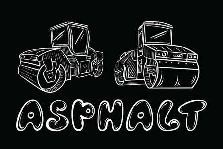 Asphalt and asphalt-laying machines black Illustration