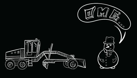 Snowman and machine on black