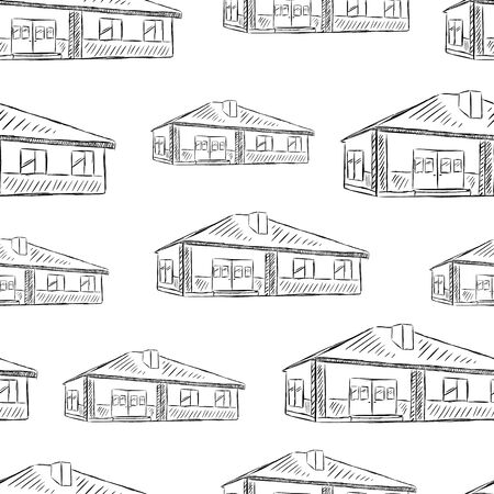 Seamless texture white house sketch