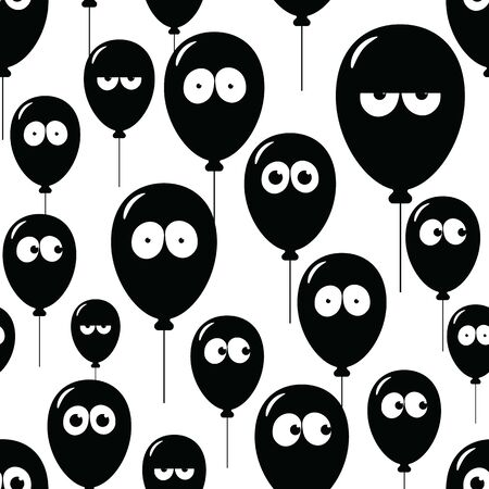 Seamless texture with faces on balloons