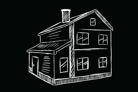 White sketch of a two-storey house on black background  イラスト・ベクター素材
