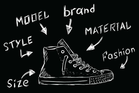 Sketch gym shoes and inscriptions with their characteristics Иллюстрация