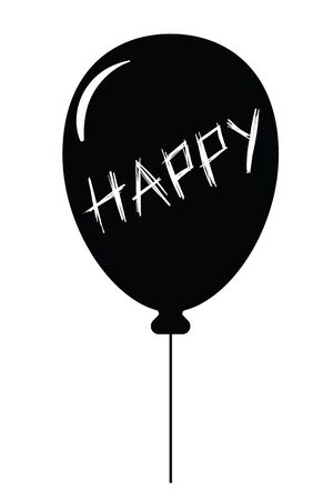 Black balloon with text happy Иллюстрация