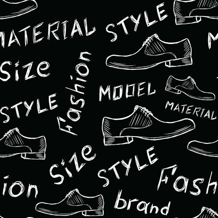 Seamless texture with white shoe sketches and their characteristics