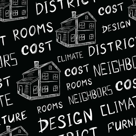 Seamless texture black with houses and their characteristics Ilustração