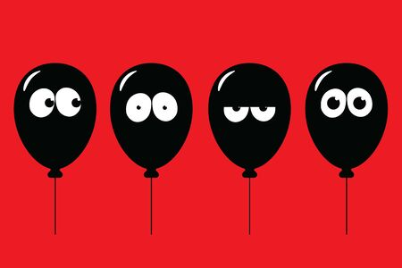Black balloons with eyes and facial expression