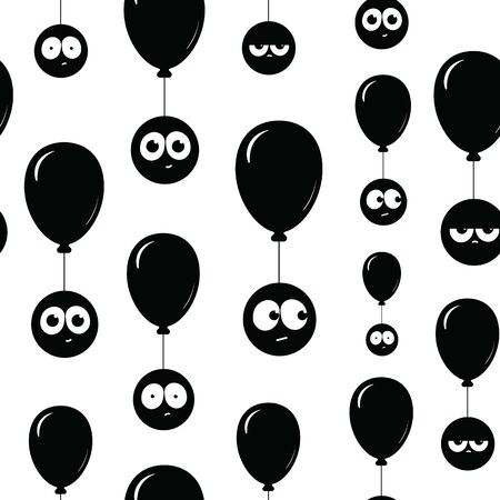 Black balloons and faces on them seamless texture