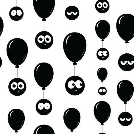 Schwarze Luftballons und Gesichter auf ihnen nahtlose Textur