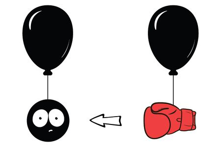 Surprised face on balloon and boxing glove