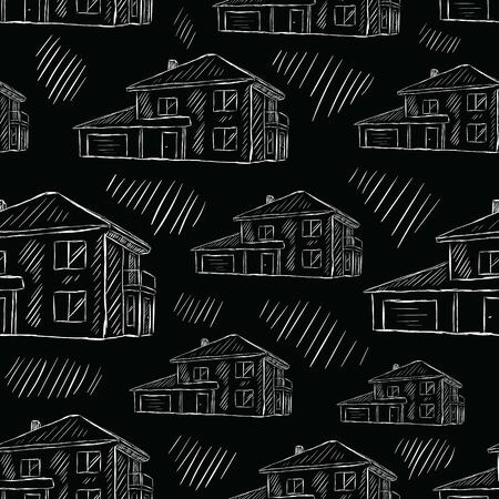 Seamless texture with black sketches of two-storey houses