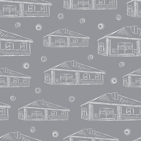 Seamless texture with grey sketches of single-storey houses