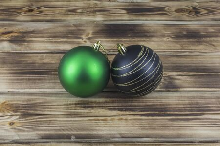 Christmas objects and decorations on a wooden background 写真素材