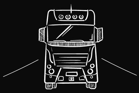 Truck on black white lines on black 일러스트