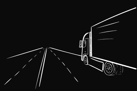 Truck and road afar white lines on black  イラスト・ベクター素材