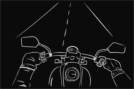 First face motorbike white lines on black background  イラスト・ベクター素材