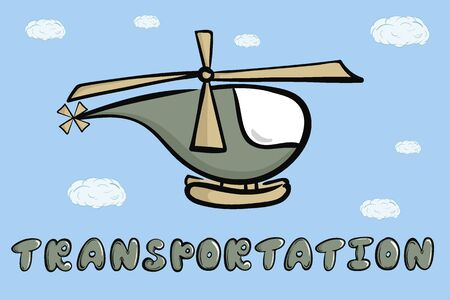 Helicopter, sky and word transportation