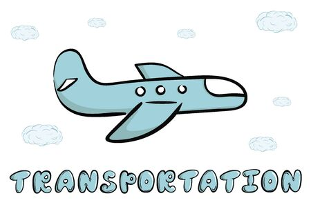 Plane and word transportation blue