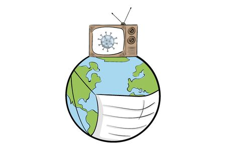 Earth with mask and TV virus
