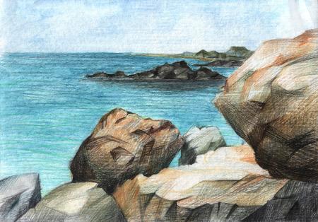 Sea stones - watercolor picture