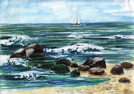 Yacht - watercolor sketch 写真素材