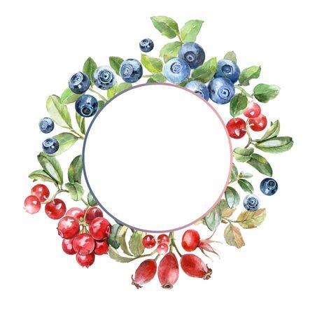 watercolor berrys frame