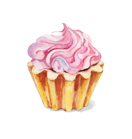 watercolor illustration background cupcake pink sweet cream