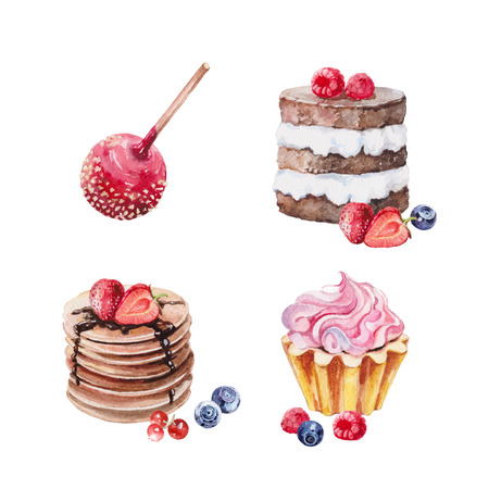 Set of watercolor illustration sweets desserts 스톡 콘텐츠