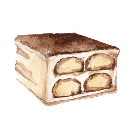 watercolor illustration tiramisu pie creem sweet dessert Stock Photo