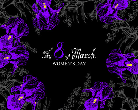 vector black background flowers composition frame with irises, lilies and mimosa Illustration