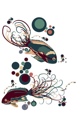Two ornate illustrated fish swimming with bubbles. Ilustração