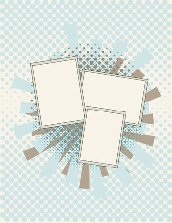 Three blank frames with an abstract background