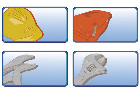 Collection of four construction items in button form