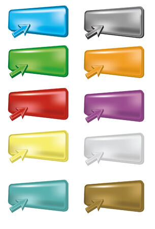 glass reflection: Ten different colored 3D buttons in perspective with arrows. Note that gradient meshes are used. Each is grouped on own layer for ease of use.